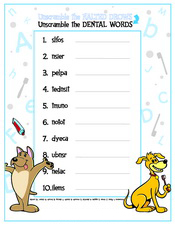 Unscramble the Dental Words activity sheet - Pediatric Dentist in Cary, NC