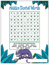 Hidden Dental Words activity sheet - Pediatric Dentist in Cary, NC